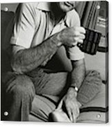 A Portrait Of Johnny Carson Sitting Acrylic Print