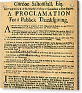 A Proclamation Of Thanksgiving Acrylic Print by Digital Reproductions