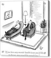 A Psychiatrist Speaks To A Man On The Sofa Acrylic Print