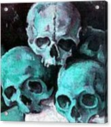 A Pyramid Of Skulls After Cezanne Acrylic Print