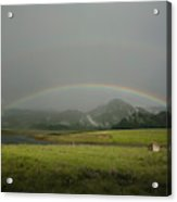 A Rainbow Over A Valley With A Small Acrylic Print