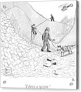 A Rescue Team Locates A Man Buried Acrylic Print by Paul Noth