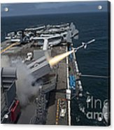 A Rim-7 Sea Sparrow Missile Is Launched Acrylic Print by Stocktrek Images