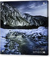 A River Flowing Through The Snowy Acrylic Print