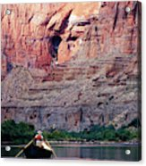 A River Guide Rowing A Wooden Dory Acrylic Print