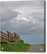 A Row Of Benches In Gloucester Ma Acrylic Print