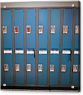 A Row Of Lockers In A School Hallway Acrylic Print