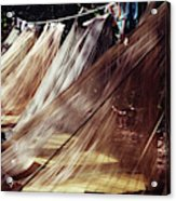 A Row Of Mosquito Netting Over Sleeping Acrylic Print