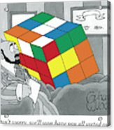 A Rubik's Cube Is Seen In A Psychiatrist's Office Acrylic Print by Gahan Wilson