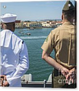 A Sailor And Marine Man The Rails Acrylic Print by Stocktrek Images