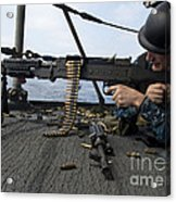 A Sailor Fires An M-240b Machine Gun Acrylic Print by Stocktrek Images