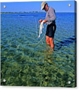 A Salt Water Fly Fisherman Catches Acrylic Print