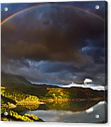 A Scottish Highland Rainbow Kylesku Acrylic Print by John Farnan