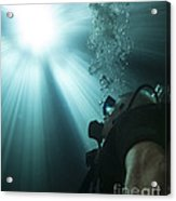 A Scuba Diver Surfacing And Looking Acrylic Print