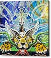 A Shaman's Journey Through The Heart Of The Sun Acrylic Print by Morgan  Mandala Manley