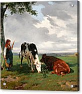 A Shepherdess With A Goat And Two Cows In A Meadow Acrylic Print