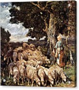 A Shepherdess With Her Flock Near A Stream Acrylic Print