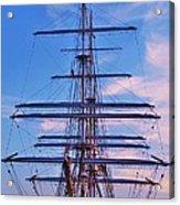 A Tall Ship At Sundown In Baltimore Acrylic Print