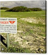 A Sign Warns Of Dangerous Unexploded Acrylic Print