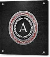 A - Silver Vintage Monogram On Black Leather Acrylic Print