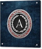 A - Silver Vintage Monogram On Blue Leather Acrylic Print