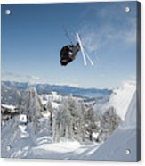 A Skier Doing A Front Flip Into Powder Acrylic Print