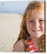 A Smiling Young Girl Enjoys A Sunny Acrylic Print
