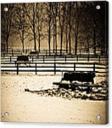 A Snow Covered Horse Farm Acrylic Print