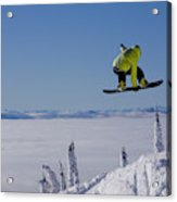 A Snowboarder Catches Air Off A Jump Acrylic Print