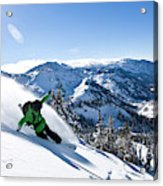 A Snowboarder Making Some Fresh Tracks Acrylic Print