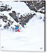 A Snowboarder Riding Through Powder Acrylic Print