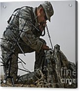 A Soldier Communicates Using A Acrylic Print