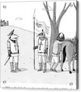 A Squire Looks At A Knight Whose Triangular Face Acrylic Print