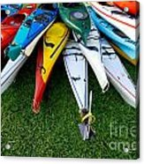 A Stack Of Kayaks Acrylic Print by Amy Cicconi