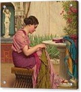 A Stitch Is Free Or A Stitch In Time 1917 Acrylic Print by John William Godward