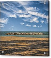 A Storm Barrier On Presque Isle Acrylic Print