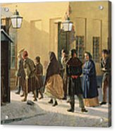A Street Scene, Outside A Prison, 1868 Oil On Canvas Acrylic Print