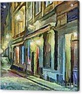 A Street With The Local Inn Acrylic Print