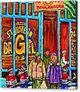 A Stroll After The Hockey Game St Viateur Bagel Montreal Winter Street Carole Spandau Acrylic Print