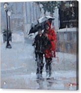 A Stroll In The Rain Acrylic Print by Laura Lee Zanghetti