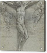 A Study Of Christ On The Cross With Two Acrylic Print
