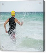 A Swimmer Running To The Ocean Acrylic Print