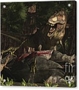 A T-rex Returns To His Kill And Finds Acrylic Print
