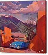 A Teal Truck In Taos Acrylic Print