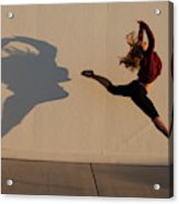A Teenage Girl Playing With Her Shadow Acrylic Print