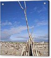 A Teepee Madeup Of Driftwood At Bandon Beach Acrylic Print