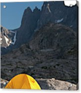 A Tent Is Dwarfed By The High Peaks Acrylic Print