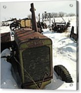 A Tractor In The Snow Acrylic Print