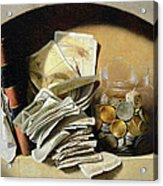 A Trompe Loeil Of Paper Money Coins Acrylic Print by French School