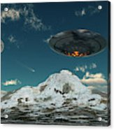 A Ufo Flying Over A Mountain Range Acrylic Print